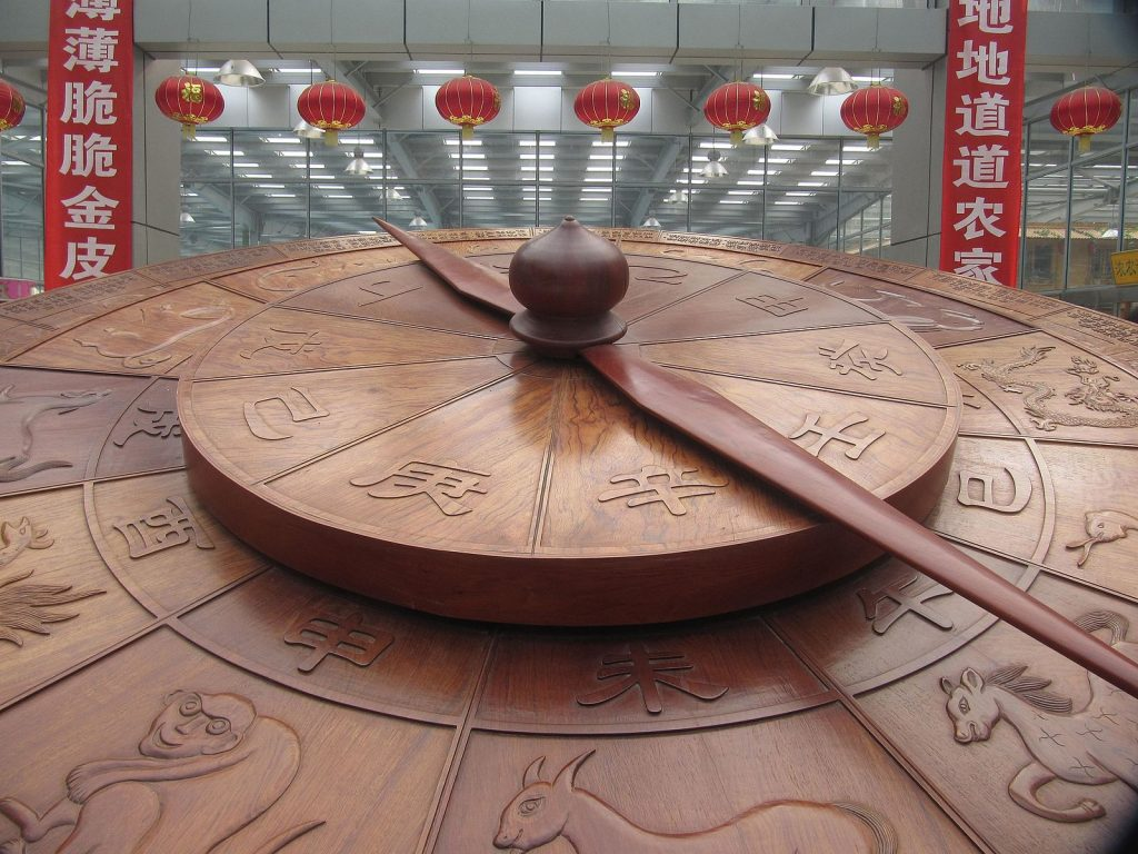 Wooden clock with art of 12 Chinese zodiac animals